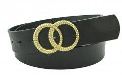 Женский кожаный ремень с пряжкой двойное кольцо Real Leather 4 см для джинсов или платья черный 105-135 см (RL111730)