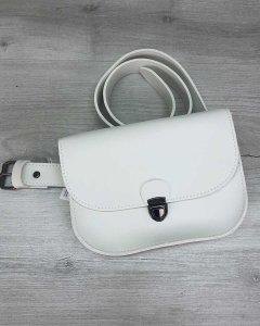 Женская стильная сумочка на пояс клатч WeLassie Stacy белая(wl-T6000)
