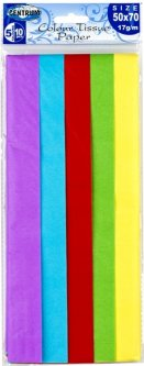 Набор декоративной бумаги тишью Centrum Tissue 50х70см 17 г/м² 5 цветов 10 шт (4030969888360)