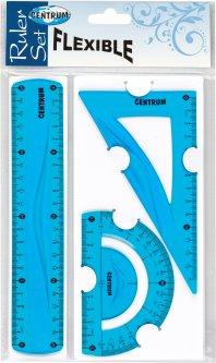 Набор измерительных школьных принадлежностей Centrum Flexible 3 гибких предмета Синий (4030969869178)