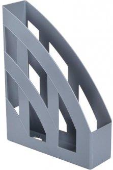 Лоток для бумаг КиП Пластиковый Вертикальный 315 х 246 х 75 мм Серый (ЛВ-01серый)