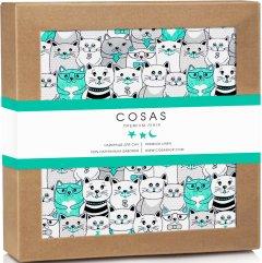 Непромокаемая пеленка Cosas Бязь 70х120 см Diaper_CatsMint Белая (4822052024423)