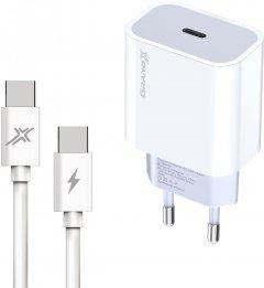 Зарядное устройство Grand-X USB-C 20W PD 3.0 быстрая зарядка для QC 4.0, FCP, AFC + cable Type-C - Type-C (CH-770C)