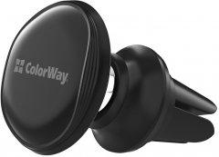 Автодержатель для телефона магнитный СolorWay Metallic Air Vent-4 Black (CW-CHM09-BK)