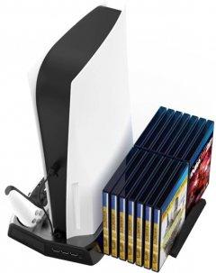 Вертикальна підставка BYIT для консолі PlayStation 5 з відділенням під диски (LP13833)