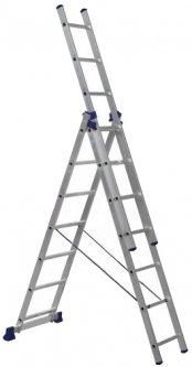Алюминиевая трехсекционная лестница Техпром 3х7 ступеней (H3 5307)