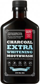 Ополаскиватель для полости рта Global White Charcoal Extra Whitening отбеливающий с древесным углем 250 мл (2021012512318)