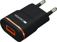 Сетевое зарядное устройство Canyon 1USB 1A Black (CNE-CHA01B)
