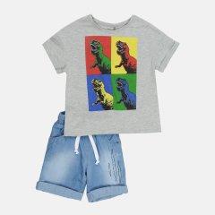 Костюм (футболка + шорты) Бемби KS652-X80 110 см Серый с синим (4823109637504)