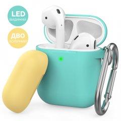 Двухцветный Силиконовый чехол AhaStyle с карабином для Apple AirPods Mint green, yellow (AHA-01460-MMY)