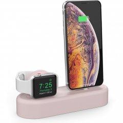 Силиконовая подставка AhaStyle 2 в 1 для Apple Watch и iPhone Pink (AHA-01560-PNK)