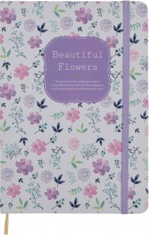 Блокнот на резинке Malevaro Красивые цветы Lila A6 клетка 96 листов (NA696002-02)