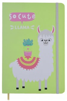 Блокнот на резинке Malevaro Веселая лама Light green A5 клетка 96 листов (NC5039-04)