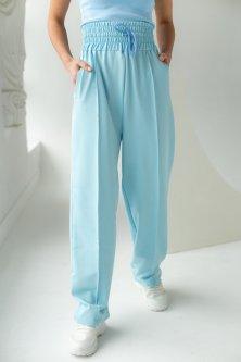 Трикотажные штаны палаццо G&M LX-10193412 L Размер цвет Голубой