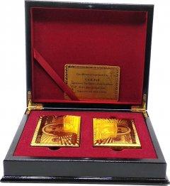 """Набор подарочный Duke Gold Playing Cards на 2 колоды 100% пластиковых карт """"100 Dollars"""" 54 карты, золото/черный лак (19х16х4.6 см) (DN32416)"""