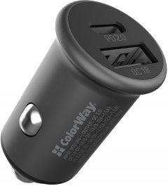 Автомобильное зарядное устройство ColorWay 2USB Type-C PD20W + USB QC3.0 ) (38W) Grеy (CW-CHA029PD-GR)