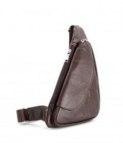 Стильная мужская сумка - бананка, слинг нагрудная из натуральной кожа на молнии МD, коричневый 696