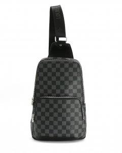 Стильная мужская сумка - слинг из люксовой эко-кожи, нагрудная на молнии МD, чёрный 41719-L-black