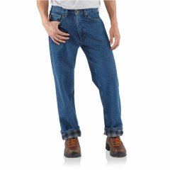 Джинси Carhartt B172 Relaxed Fit Flannel-Lined Jeans - Straight Leg, Factory Seconds Darkstone, 42W 32L (11326354)