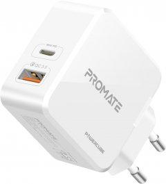 Сетевое зарядное устройство Promate PowerCube 36 Вт Type-C PD + USB QC 3.0 White (powercube.white)