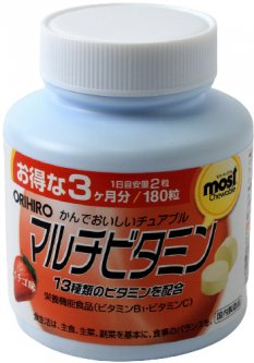 Витамины Orihiro Мультивитамин 180 жевательных таблеток (4971493104055)