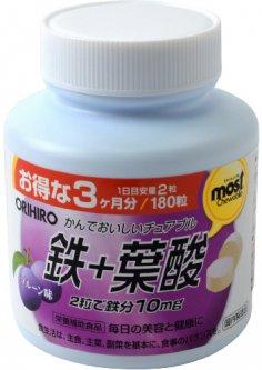 Витамины Orihiro Железо 180 жевательных таблеток (4971493104048)