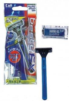 Одноразовый бритвенный станок женский Kai Dispo razor Besty EX с сашетом геля для бритья (4901331010866)