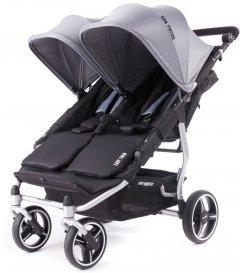 Прогулочная коляска для двойни Baby Monsters Easy Twin Серая (серебристое шасси) (BMT3.0S-10002_011)
