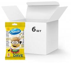 Упаковка влажных салфеток Smile Minions Dave 6 пачек по 15 шт (42139138)