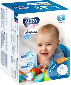 Подгузники одноразовые для детей AURA baby 3/М 4-9 кг small-pack 14 шт (4752171003248)