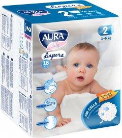 Подгузники одноразовые для детей AURA baby 2/S 3-6 кг small-pack 16 шт (4752171003231)