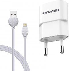 Зарядное устройство Awei C-832 Travel charger + Lightning cable USB 2.1 A White (FSH92054)