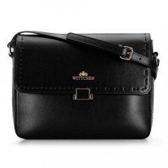Женская кожаная сумка через плечо с отстроченным клапаном большая 92-4E-629-1 черный