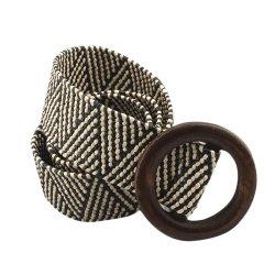 Женский пояс ремень эластичный плетенный в стиле бохо белый с черным и темно-бежевой деревянной пряжкой
