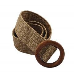 Пояс женский эластичный в стиле бохо ремень плетенный бежевый с коричневой деревянной пряжкой