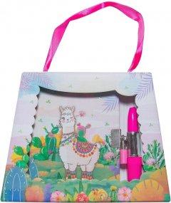 """Блокнот детский Malevaro """"Веселая лама"""" в подарочной сумочке с ручкой-помадой 150x110 мм 70 г/м² 56 листов в линию (T641902) (6931164700915)"""