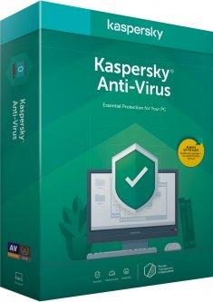 Kaspersky Anti-Virus 2020 первоначальная установка на 1 год для 2 ПК (DVD-Box, коробочная версия)