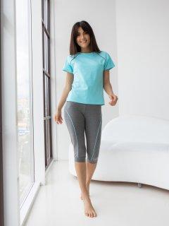 Комплект (футболка + бриджи) BARWA garments 0255/82 L Мятный/Темно-серый меланж (2112550823133)