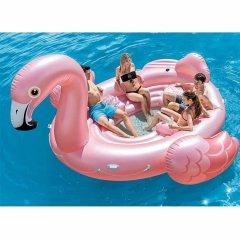 Надувной плотик-матрас для отдыха и вечеринок большой Фламинго 358-315-163см Прочный семейный шезлонг для плавания и отдыха - плот с ручками для пляжа и бассейна (57297)