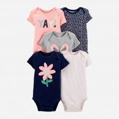 Боди-футболка Carters 18330810 69-72 см 5 шт Розовый/Серый/Белый/Синий (192135961223)