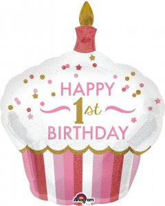 Шарик воздушный Amscan 1st Birthday Cupcake Girl P40 73x91 см (3452201)