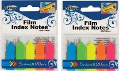 Закладки-индексы пластиковые флажки Сentrum 45x12 мм 20 листов 5 неоновыx цветов 2 шт (835062) (2000998452407)