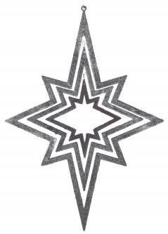 Елочная игрушка Christmas Decoration Подвесная декорация Звезда 34х48 см Серебристо-синяя (AWR105250_silver_blue)