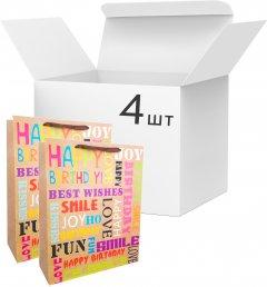 Набор пакетов подарочных Angel Gifts 310х400х120 мм Happy joy 4 шт (Я46050_AG91397_4)