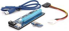 Райзер Voltronic PCI-EX, x1=>x16, 4-pin Molex, SATA=>4Pin, USB 3.0 AM-AM 0.6 м Синий (CS 220 16V)