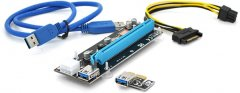 Райзер Voltronic PCI-EX, x1=>x16, 6-pin, SATA=>6Pin, USB 3.0 AM-AM 0.6 м Синий (VER 009S/CS 220 16V)
