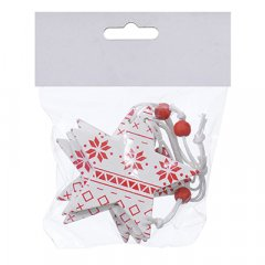 Набор елочных игрушек Jumi Звезда 4 шт с 6.5 см белый / красный (5900410376014)