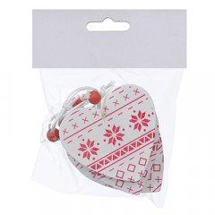 Набор елочных игрушек Jumi Сердце 4 шт с 6.5 см белый / красный (5900410376021)