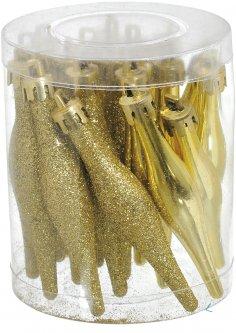 Набор елочных игрушек Jumi Сосулька 18 золотой 9.5 см (5900410690684)