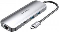 Док-станция Vention Hub 9-in-1 USB 3.1 Type-C - HDMI/USB 3.0x2/RJ45/USB-C/SD/TF/TRRS 3.5mm/PD 100W (TOMHB)
